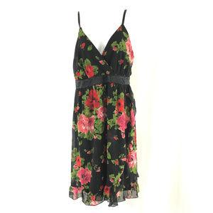 Torrid Dress A Line Floral Roses Ruffle Sleeveless